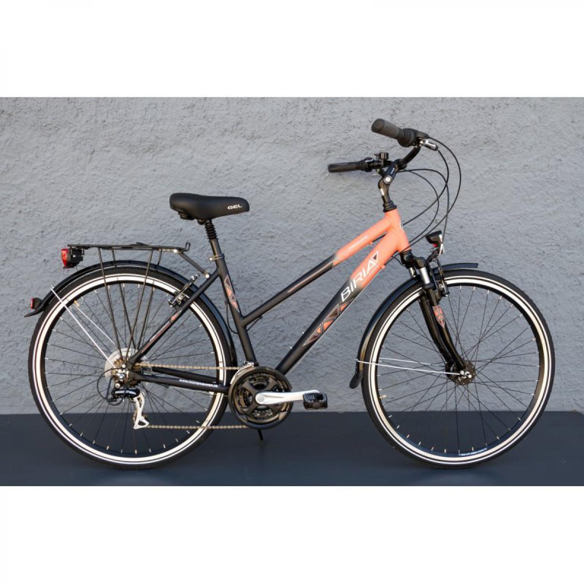 28 zoll alu biria damen trekking bike shimano 21 gang nabendynamo schwarz orange ihr fahrrad. Black Bedroom Furniture Sets. Home Design Ideas